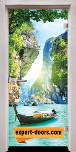 Стъклена интериорна врата Print G13-15 каса Перла